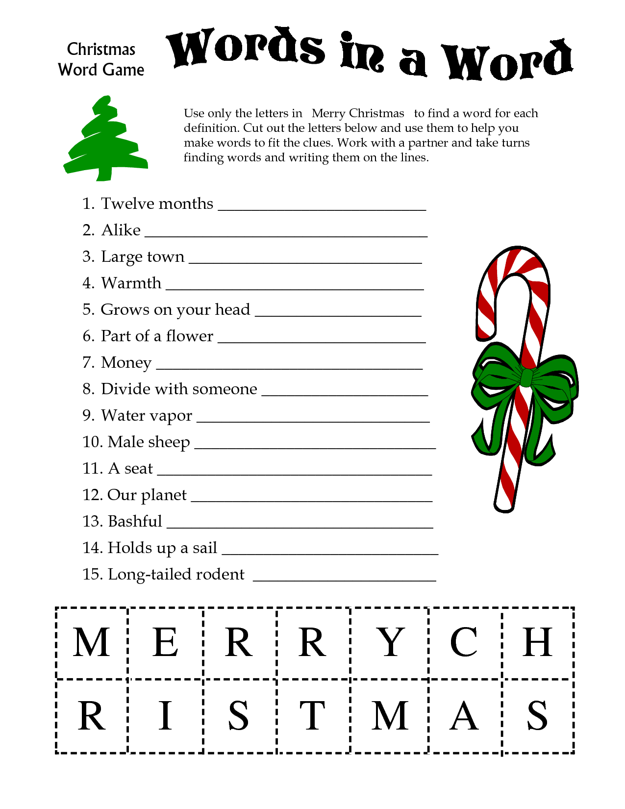 5 Images Of Free Printable Christmas Word Games   Printablee - Free Printable Christmas Word Games