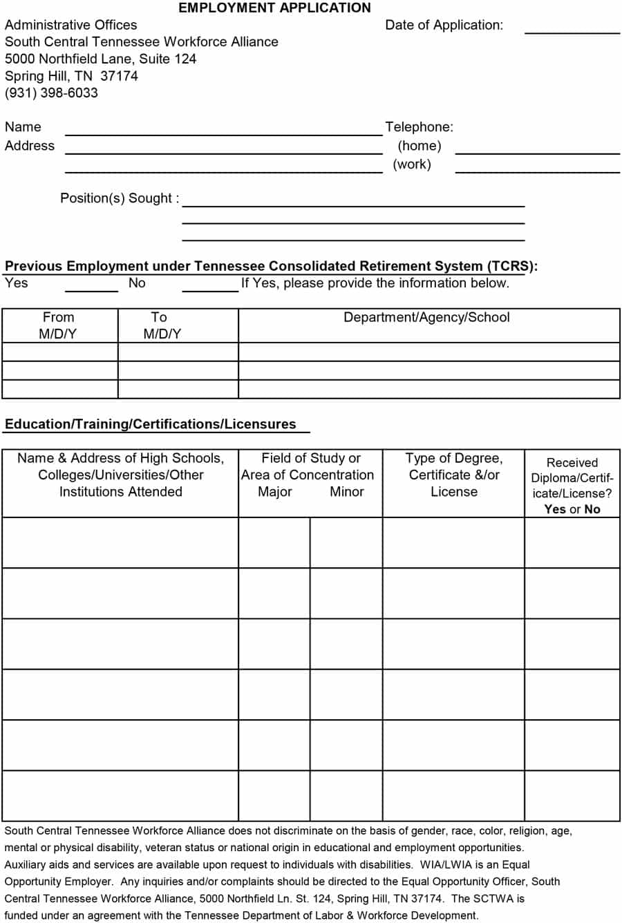 50 Free Employment / Job Application Form Templates [Printable - Free Printable Job Application Form