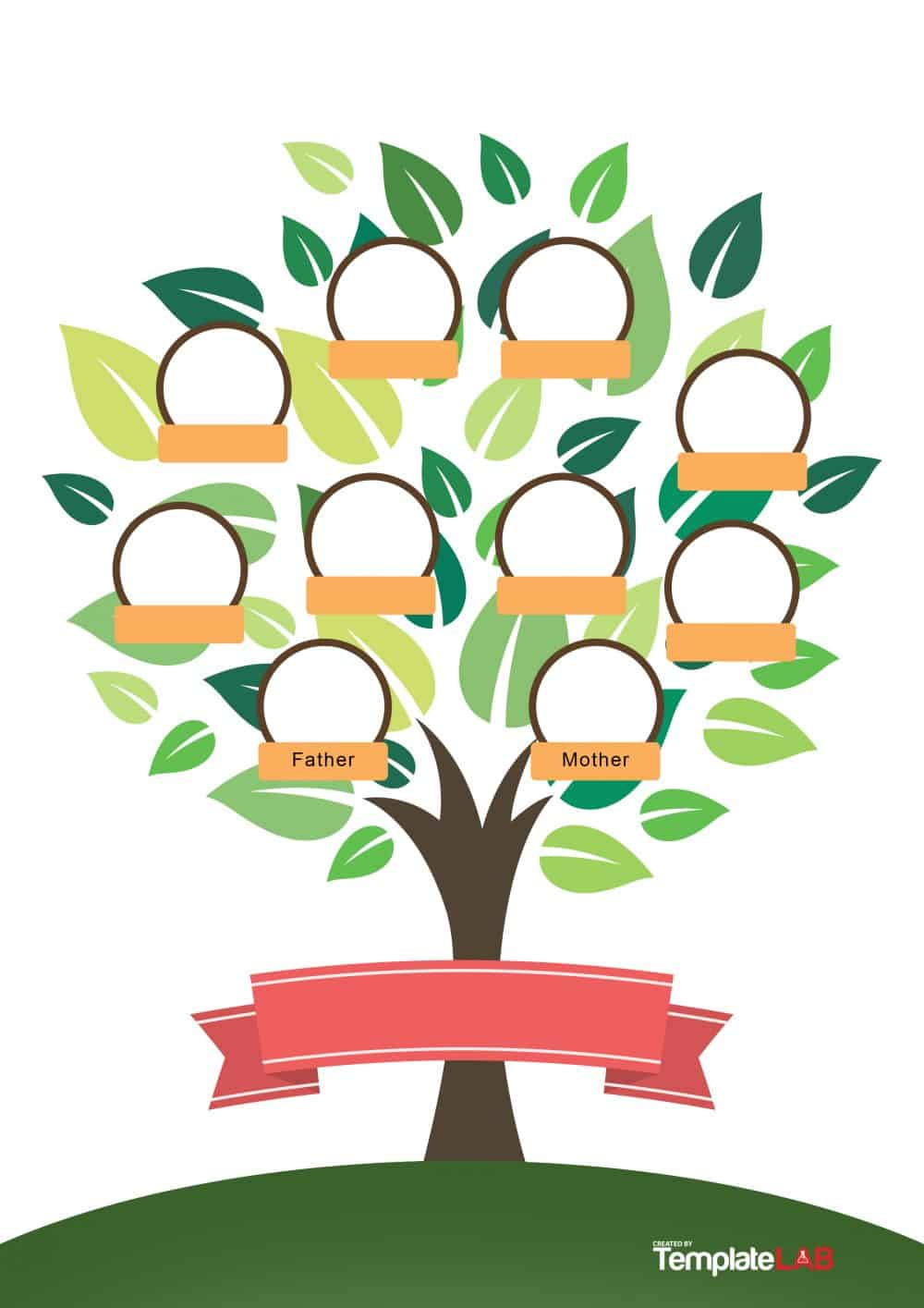 50+ Free Family Tree Templates (Word, Excel, Pdf) - Template Lab - Family Tree Maker Free Printable