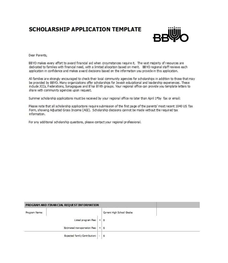 50 Free Scholarship Application Templates & Forms - Template Lab - Free Printable Fafsa Application Form