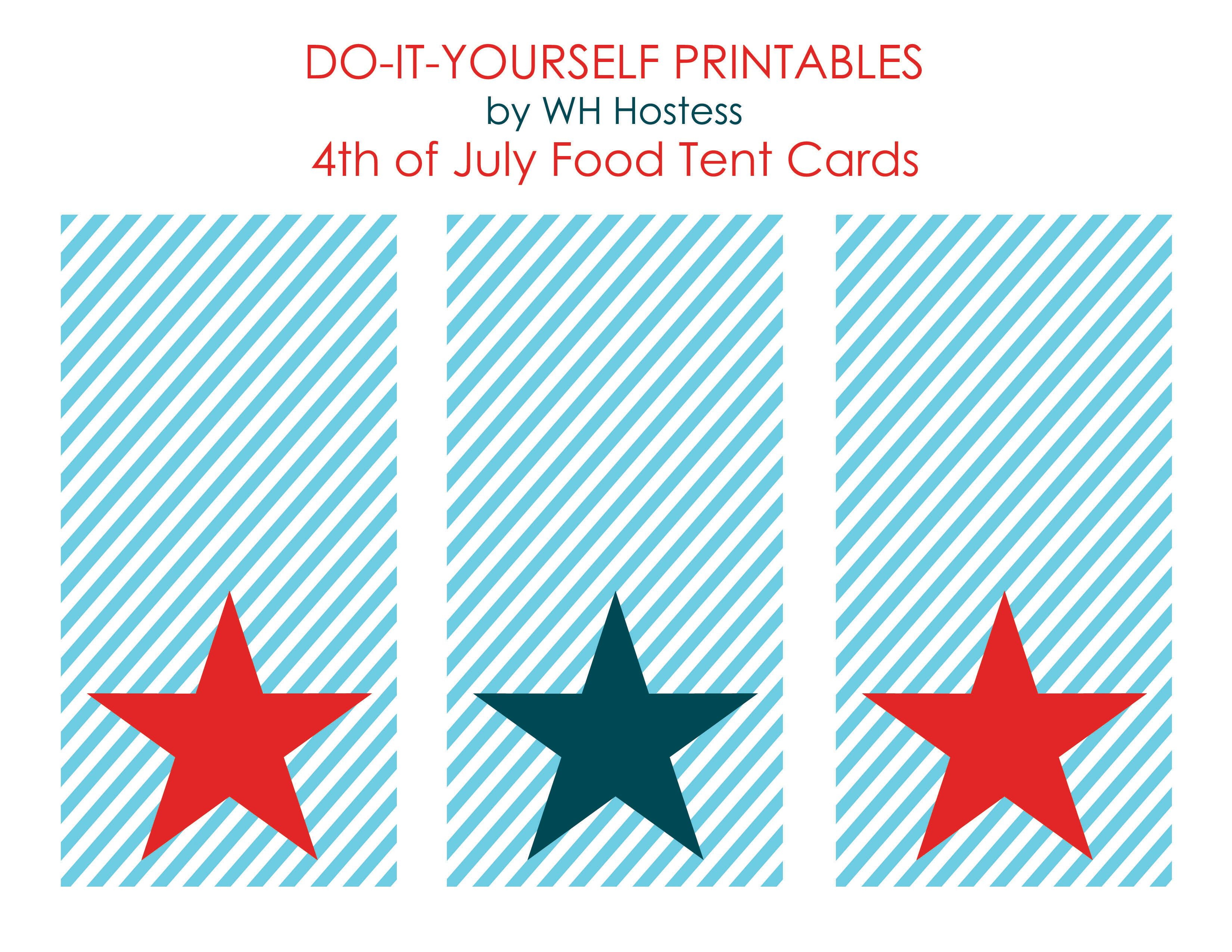 50 Independence Day (July 4Th Free Printables | Holidays | 4Th Of - Free Printable Food Tent Cards