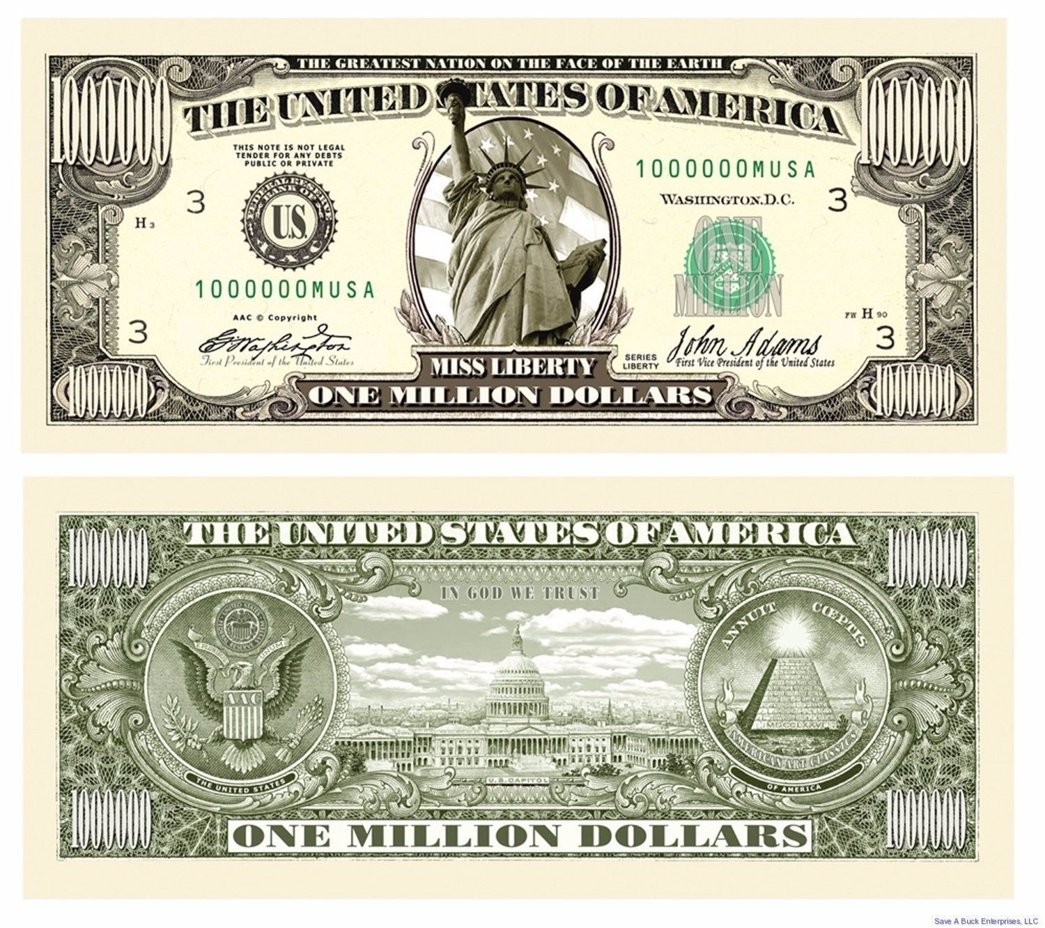 50) Traditional Million Dollar Bills - Fun Novelty Prank Collectible - Free Printable Million Dollar Bill