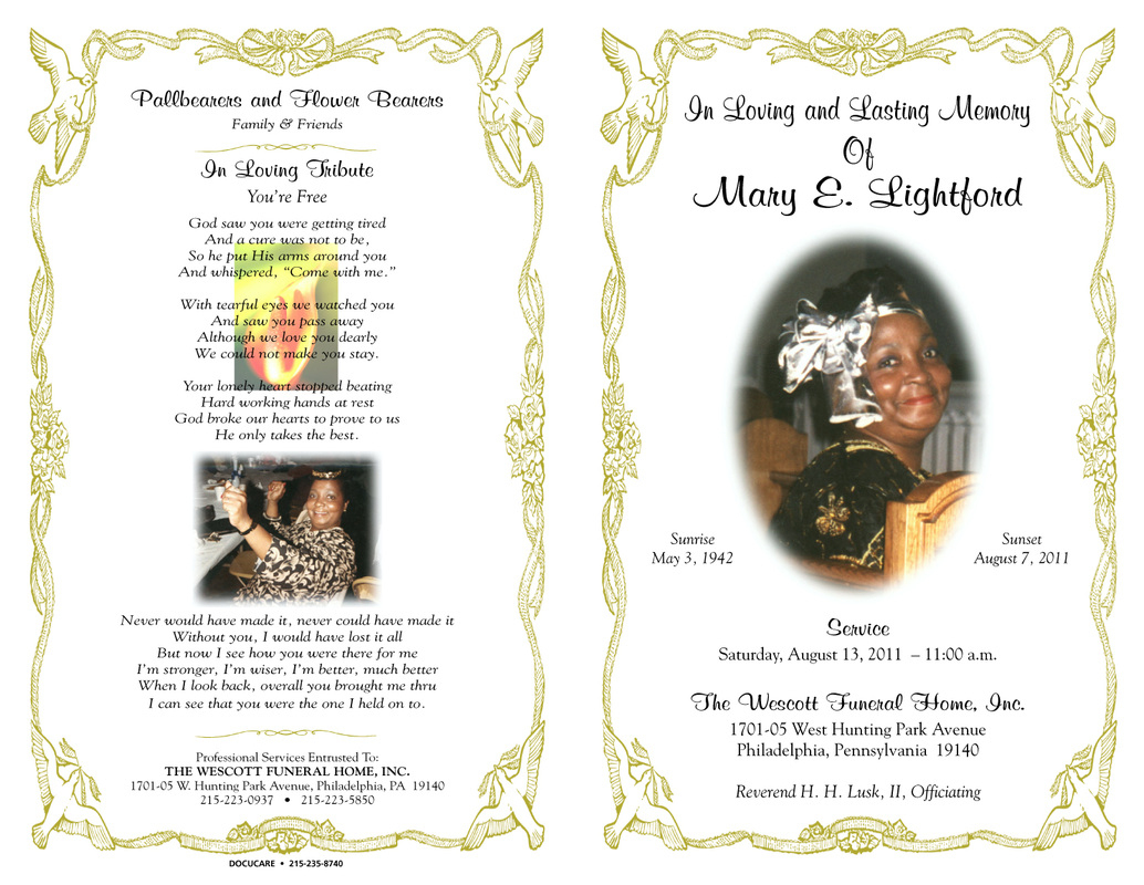 57 Sample Obituary Funeral Program Templates, Psd, Publisher - Free Printable Funeral Programs