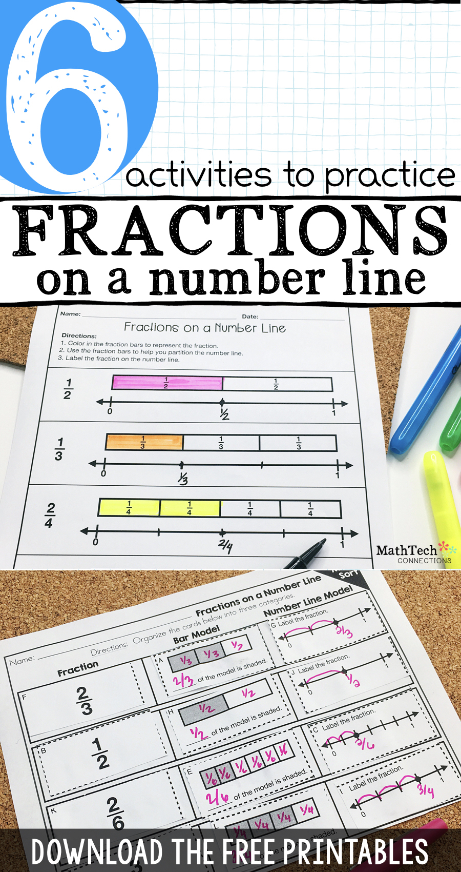 6 Activities To Practice Fractions On A Number Line - Free Printable Math Centers