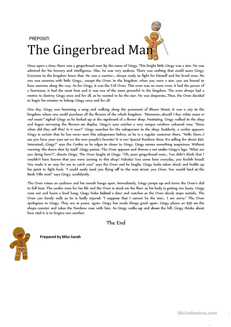 6 Free Esl The Gingerbread Man Worksheets - Free Printable Version Of The Gingerbread Man Story