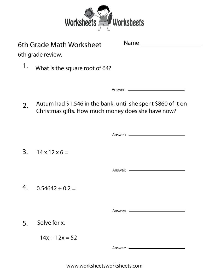 6 Grade Math Worksheets | Sixth Grade Math Practice Worksheet - Free - Year 6 Maths Worksheets Free Printable
