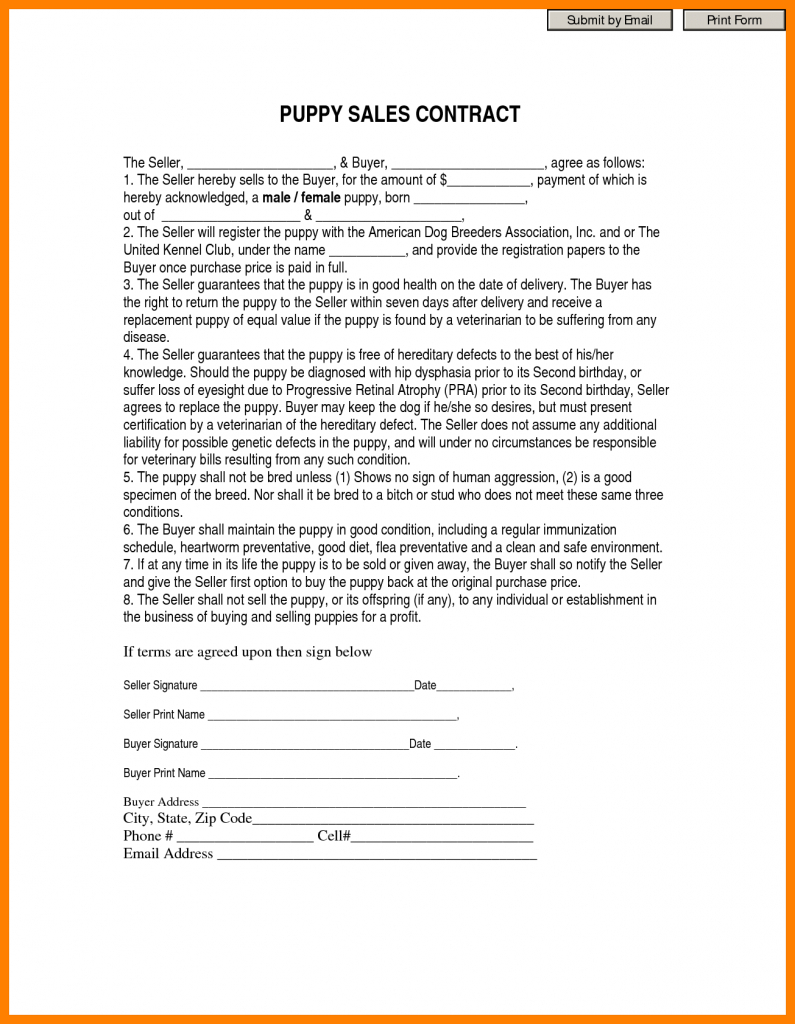 7+ Free Printable Puppy Contract | St Columbaretreat House For Free - Free Printable Puppy Sales Contract
