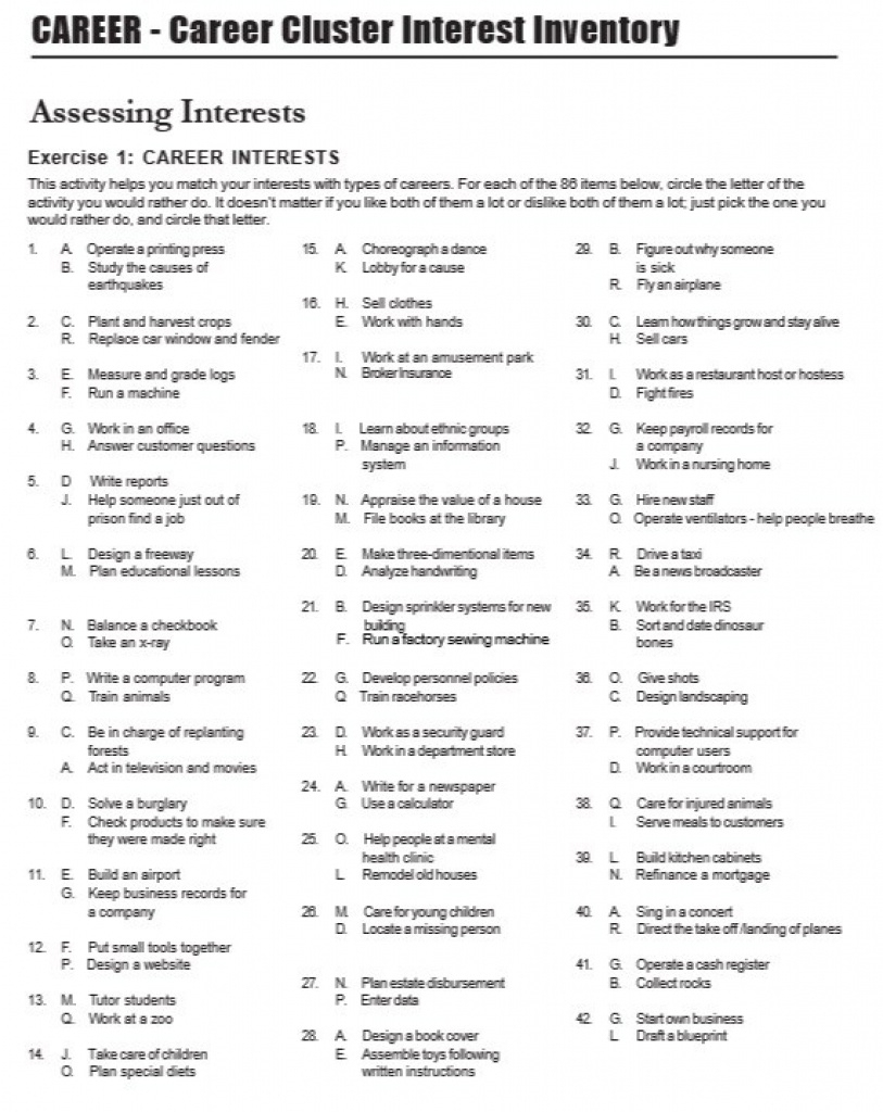 7 Free Sample Career Clusters Interest Survey - Printable Samples - Printable Career Interest Survey For High School Students Free