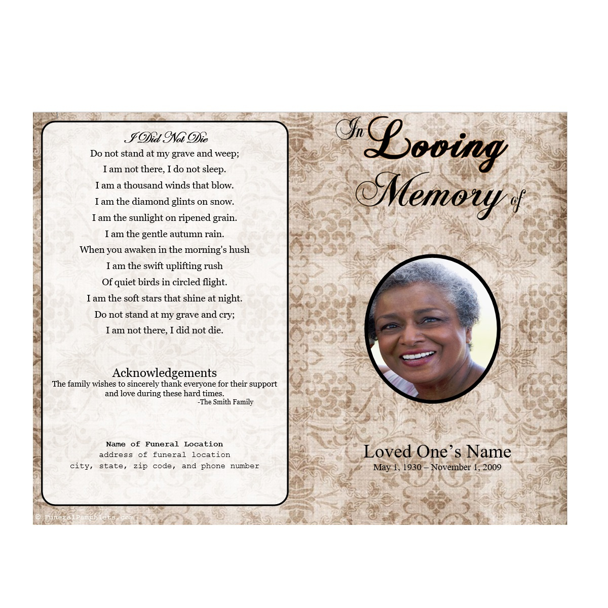 8 Free Funeral Program Template Microsoft Word  Programs Sample - Free Printable Funeral Programs