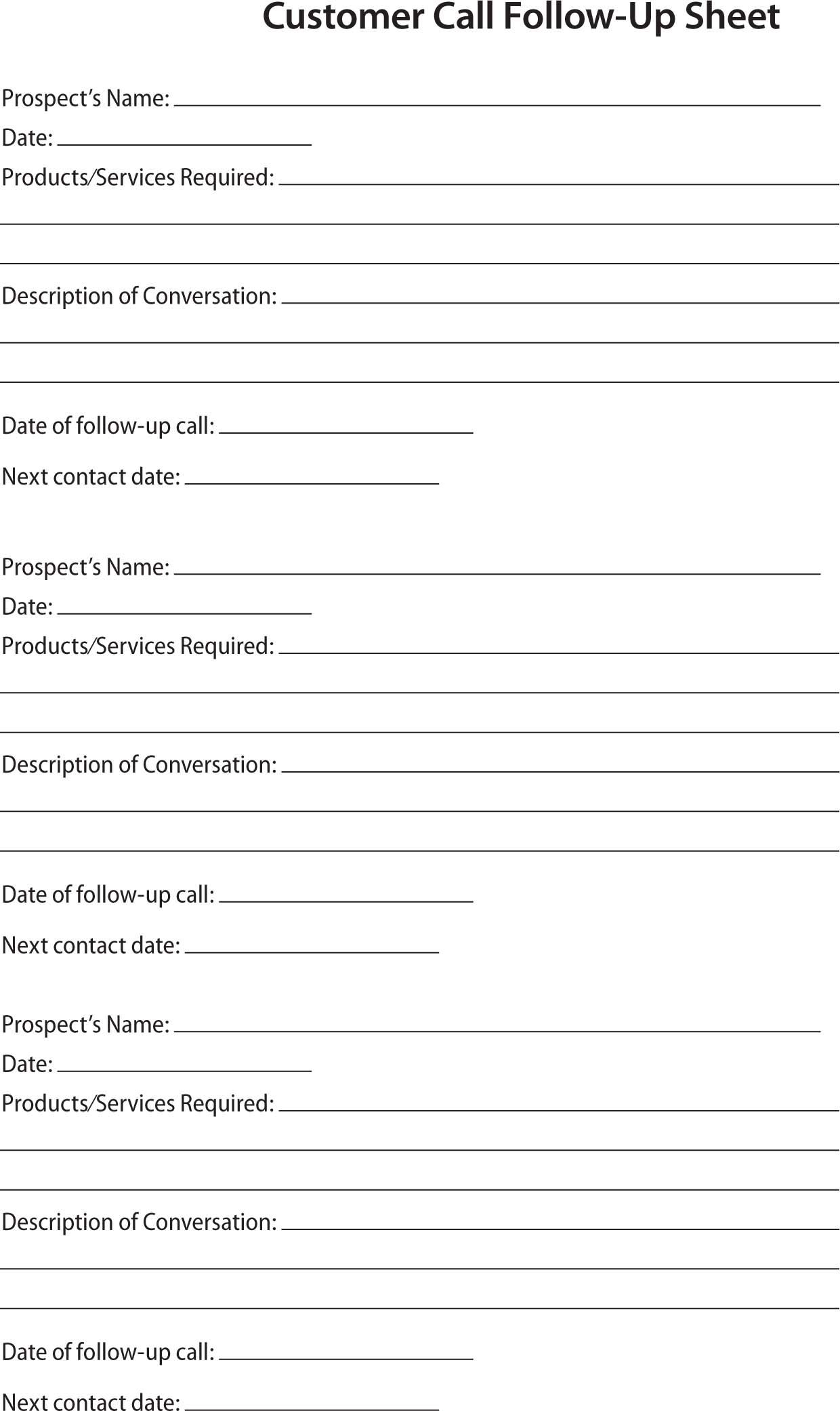 80 20 Prospect Sheet Customer Call Follow Up | Call Sheet - Free Printable Salon Sign In Sheets