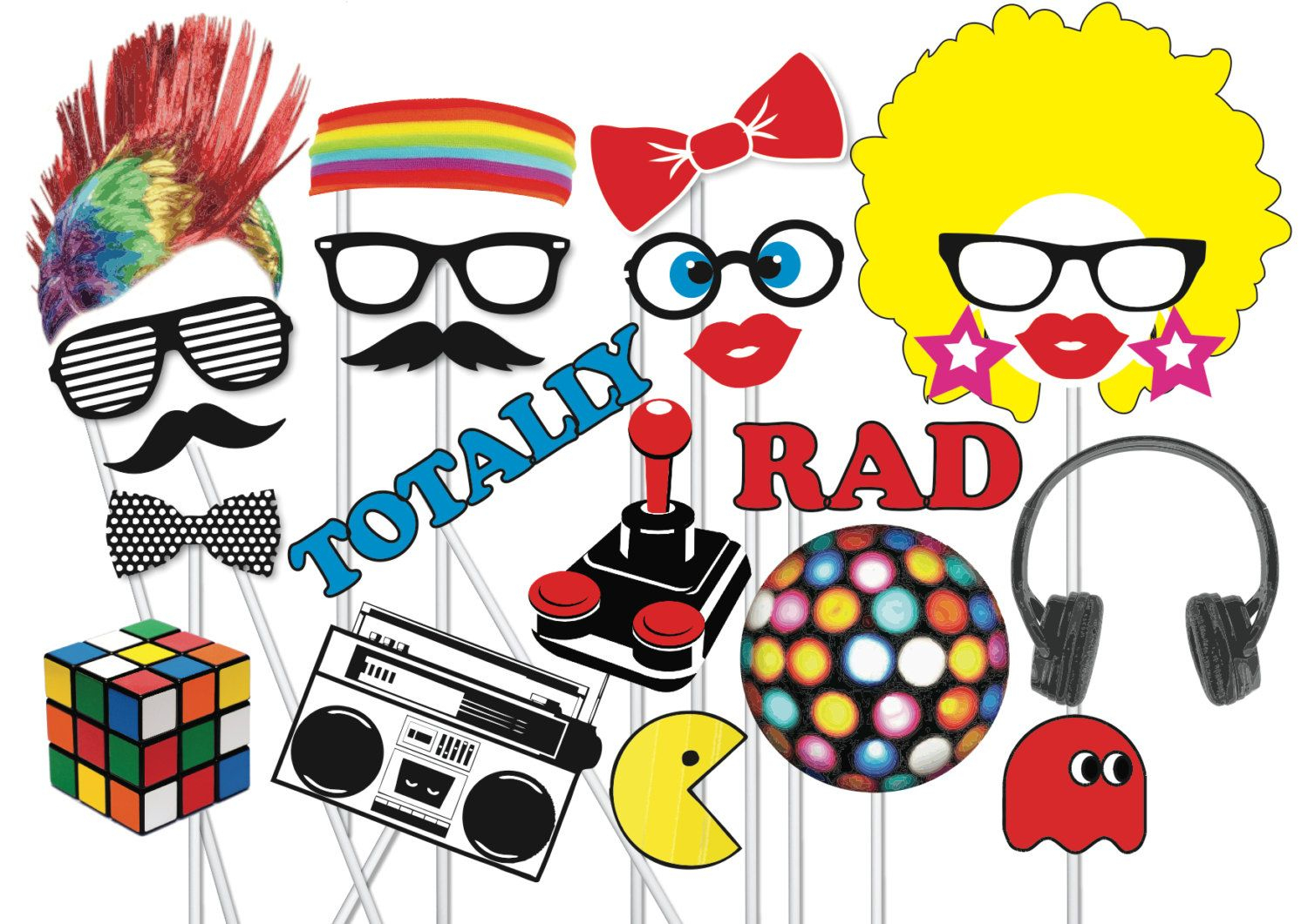 80's Retro Photobooth Party Props Set 22 Piecethequirkyquail - 80S Photo Booth Props Printable Free
