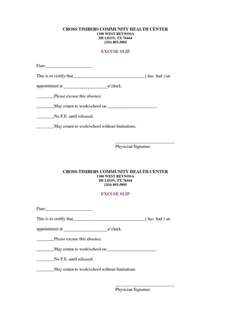 9 Best Free Doctors Note Templates For Work | Every Last Template - Free Printable Doctors Notes Templates