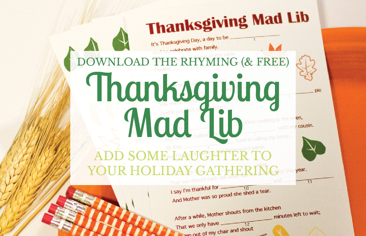 A Free Thanksgiving Mad Lib Printable - Small Stuff Counts - Free Printable Thanksgiving Mad Libs