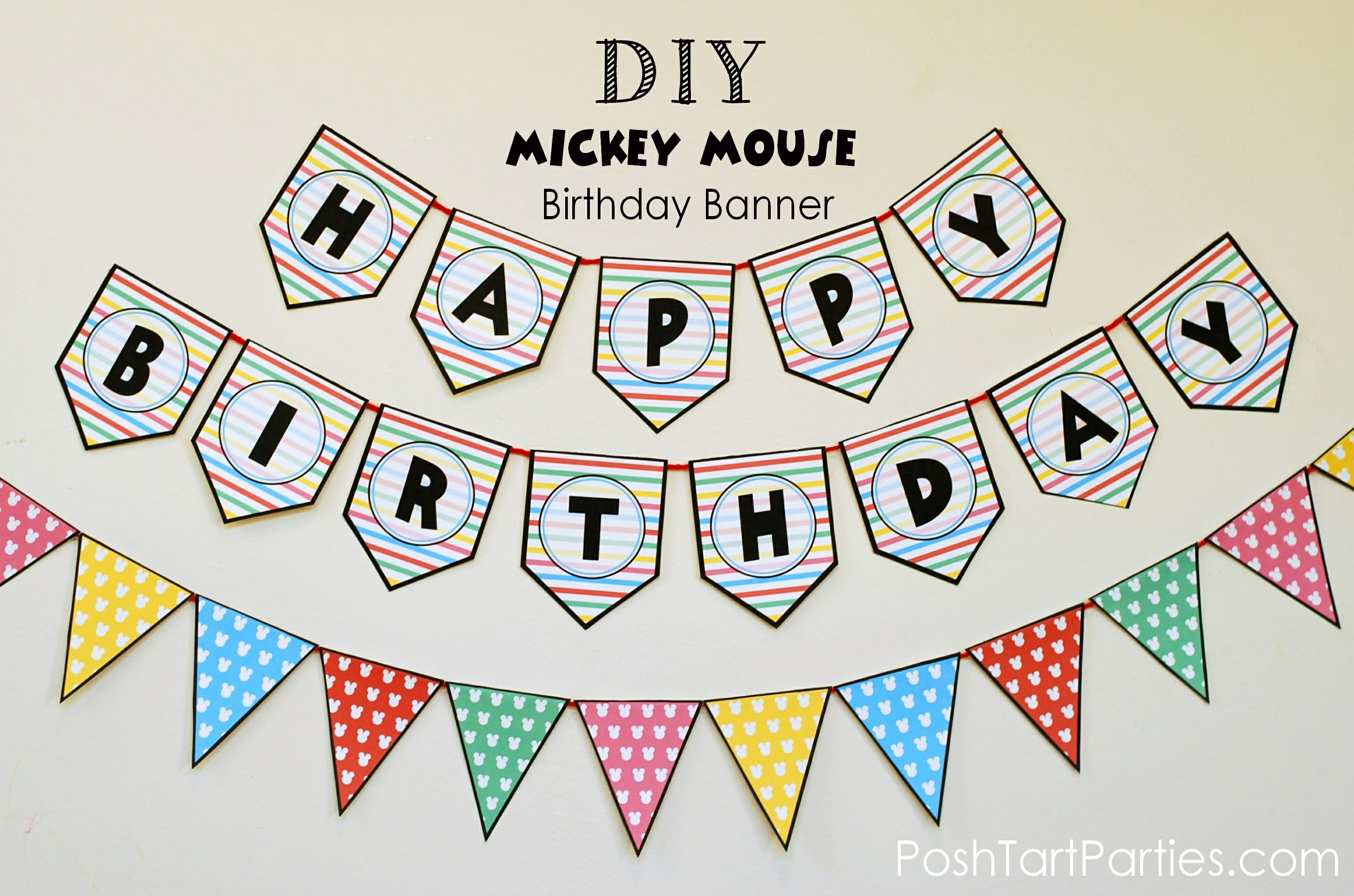 A Mickey And Minnie Mouse Party – Free Printable Happy Birthday - Free Printable Happy Birthday Banner