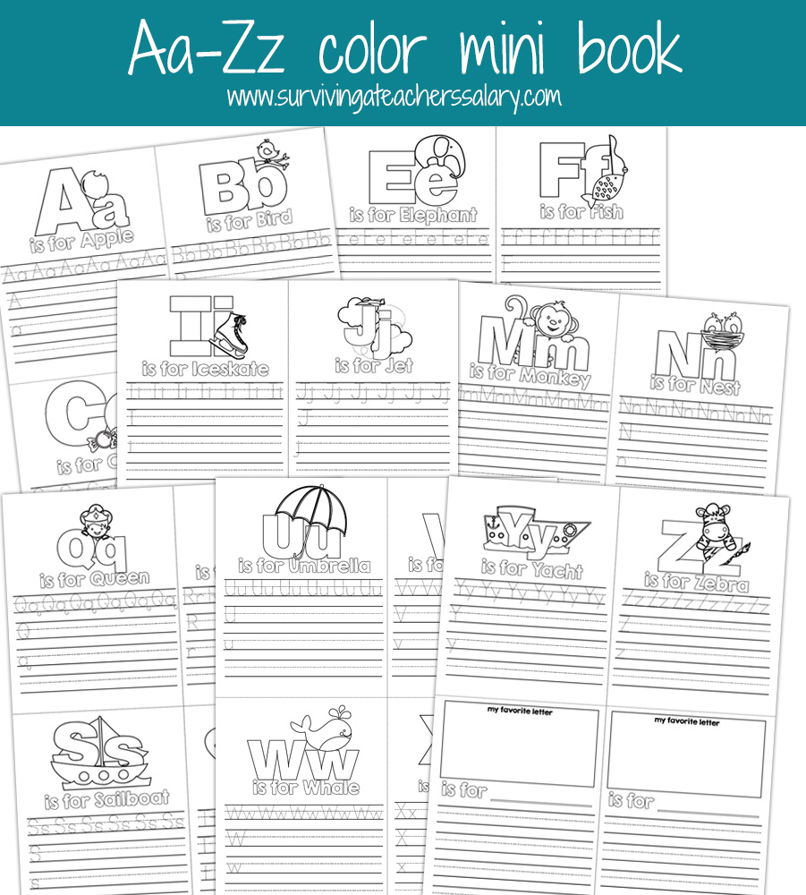 Aa-Zz Alphabet Letter Mini Color Book Practice Printable - Free Printable Abc Mini Books