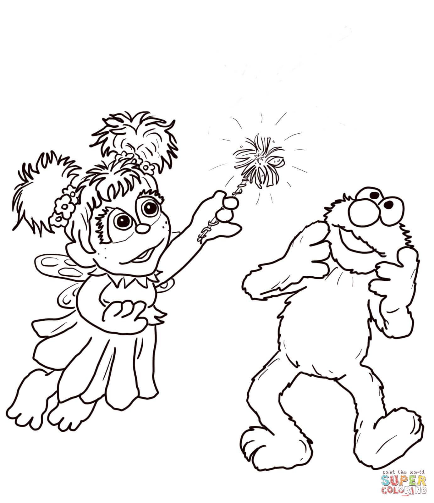Abby Cadabby And Elmo Coloring Page | Free Printable Coloring Pages - Elmo Color Pages Free Printable