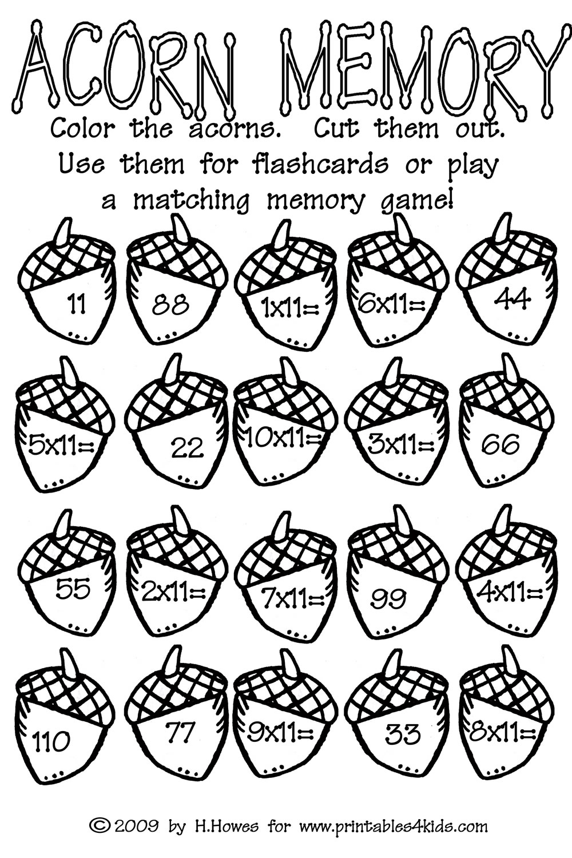 Acorn Multiplication Math Worksheet : Printables For Kids – Free - Free Printable Fall Math Worksheets