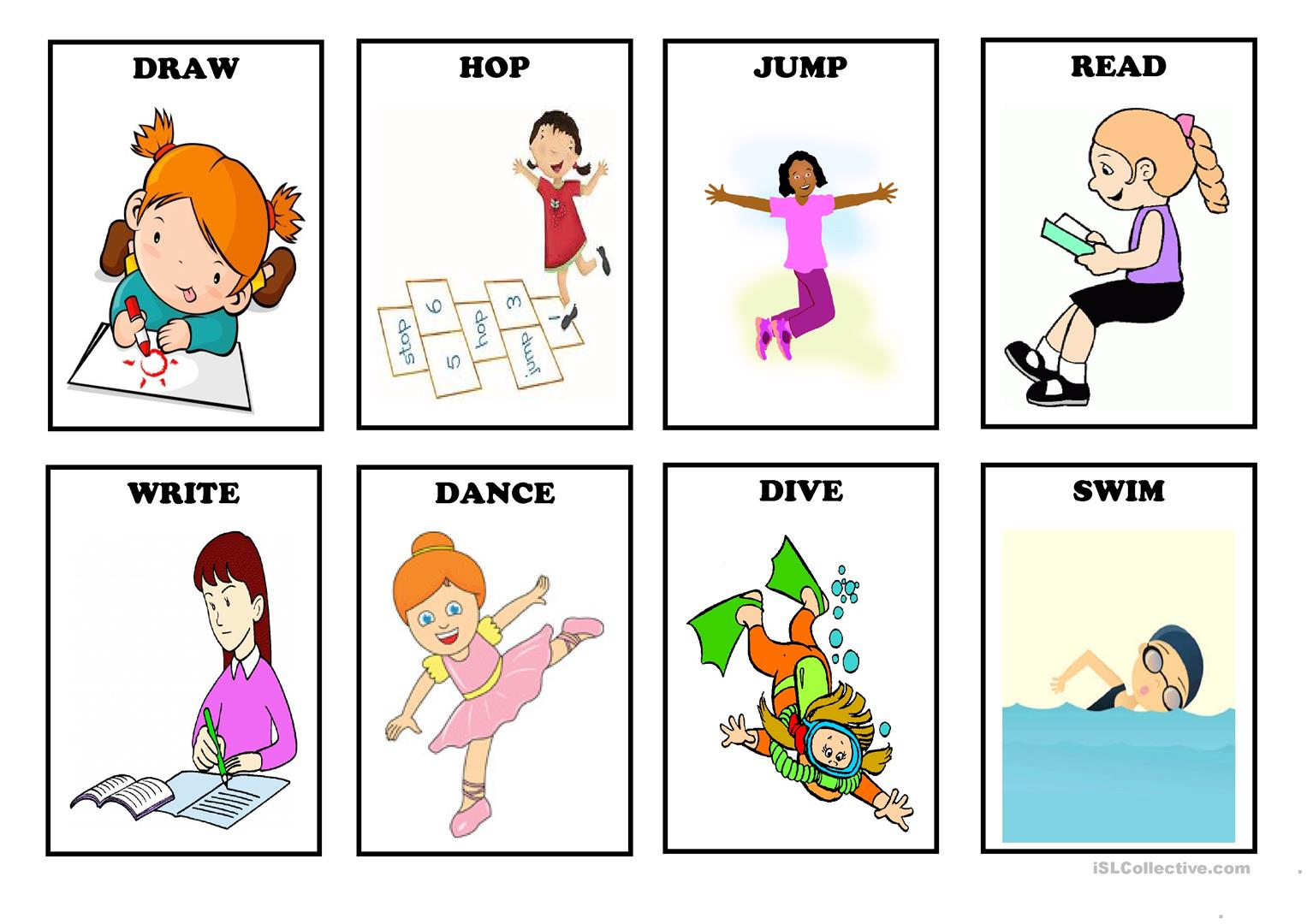 Action Verbs - Flash Cards (Set 1) Worksheet - Free Esl Printable - Free Printable Spanish Verb Flashcards