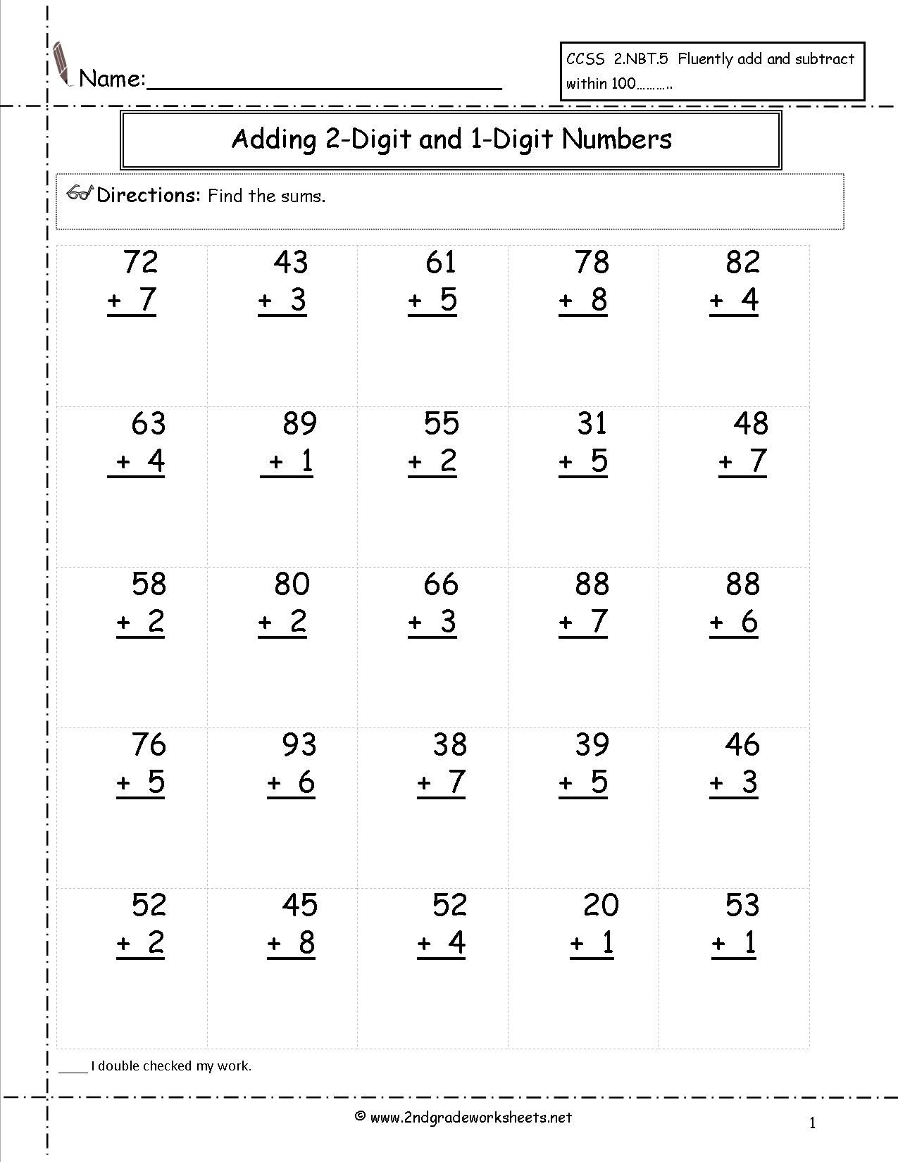 Adding Two Digit And One Digit Numbers   Satta   Pinterest - Free Printable Two Digit Addition Worksheets