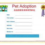 Adoption Certificate Template Fast Pet Adoption Certificate For The   Free Printable Stuffed Animal Adoption Certificate
