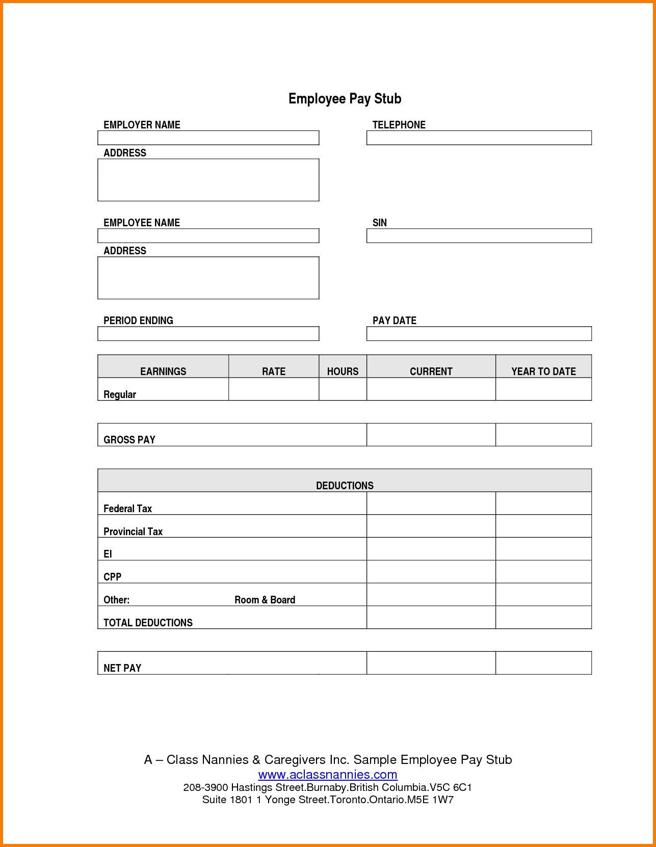 Adp Paystub Template Payroll Sheet Editable Free Printable Check - Free Printable Pay Stubs Online
