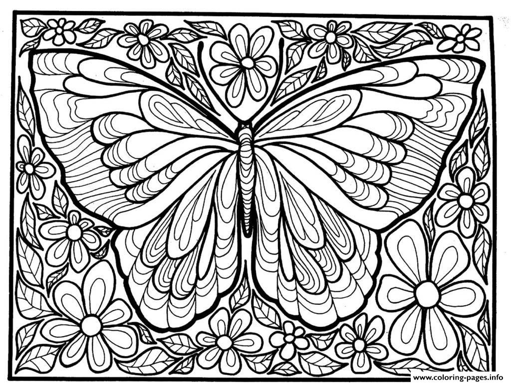 Adult Difficult Big Butterfly Coloring Pages Printable - Free Printable Butterfly Coloring Pages