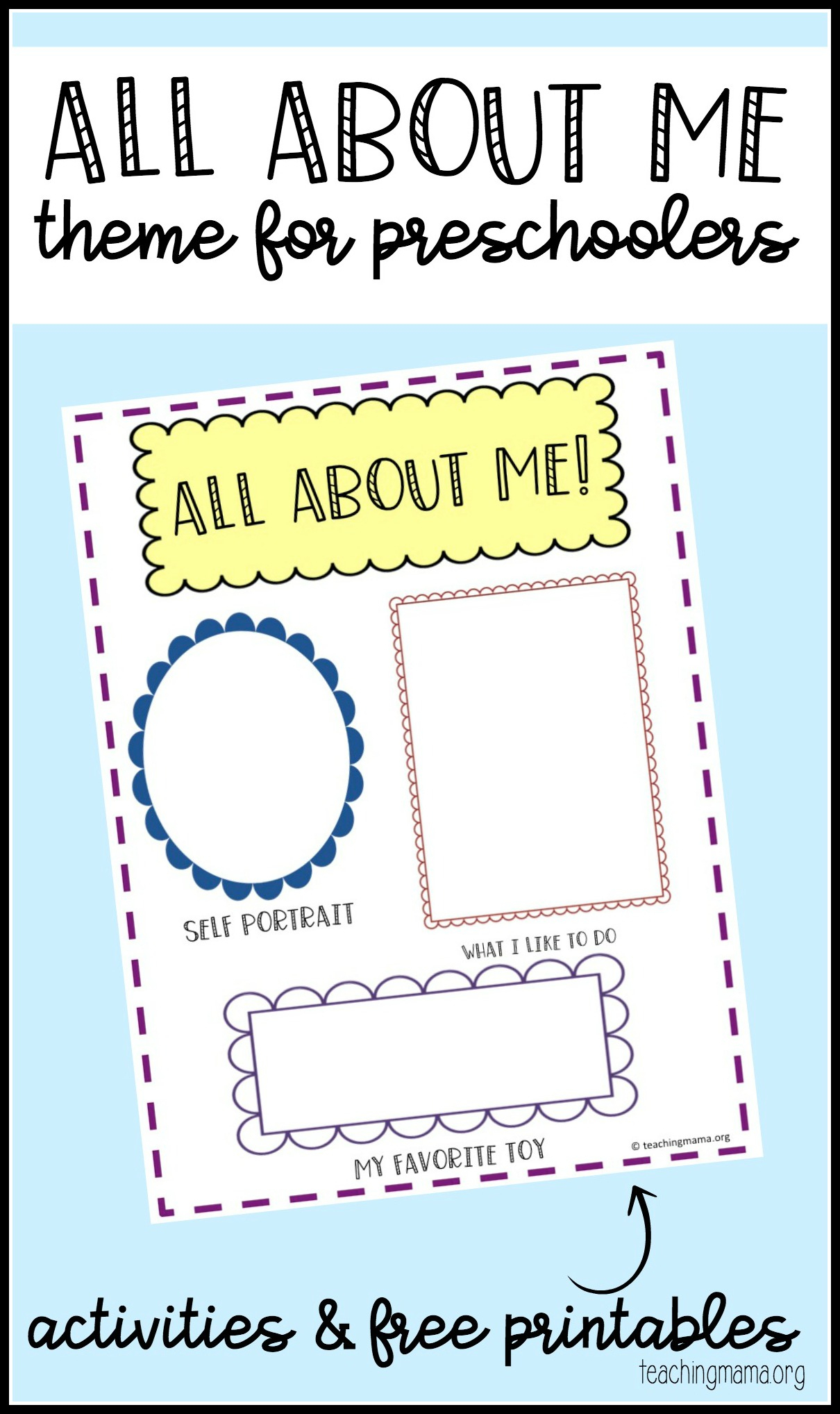 All About Me Preschool Theme - All About Me Free Printable