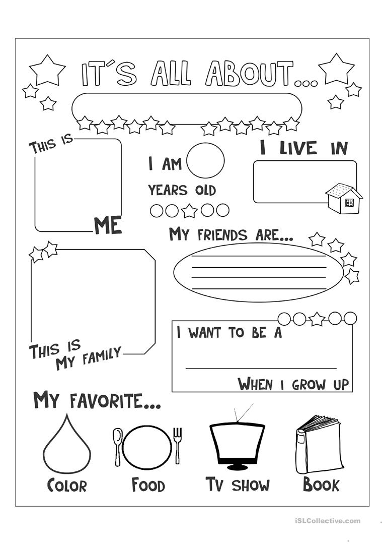 All About Me Worksheet - Free Esl Printable Worksheets Madeteachers - Free Printable All About Me Worksheet