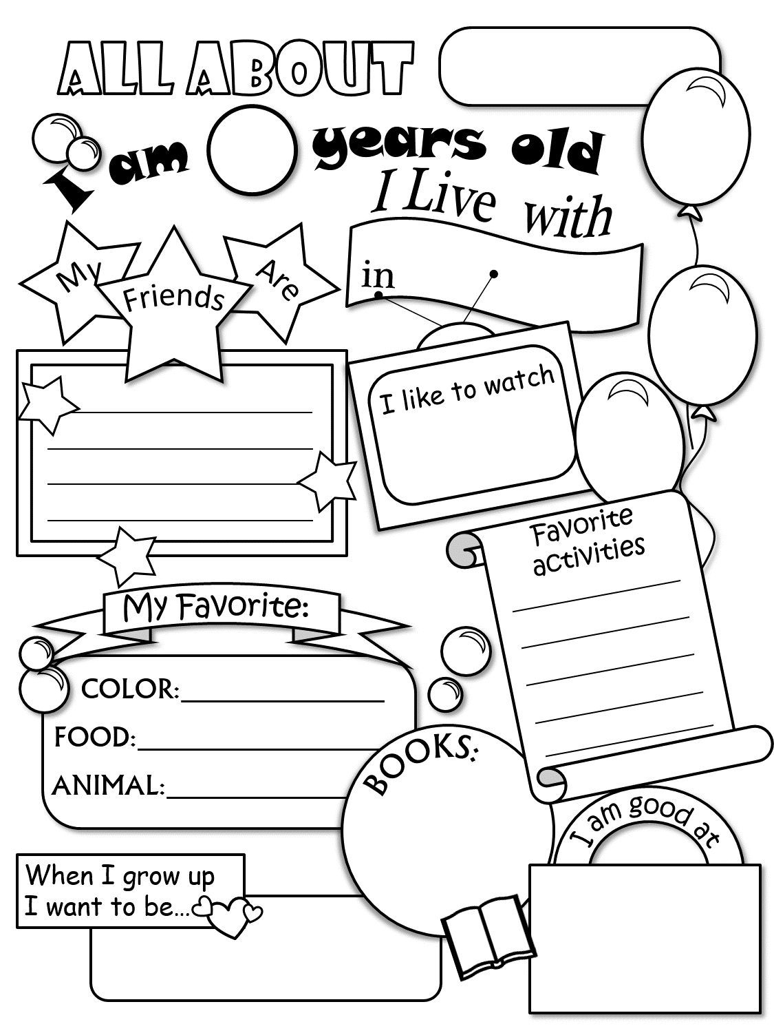 All About Me Worksheet Freebie - Cute! | Language Arts | Pinterest - Free Printable All About Me Worksheet