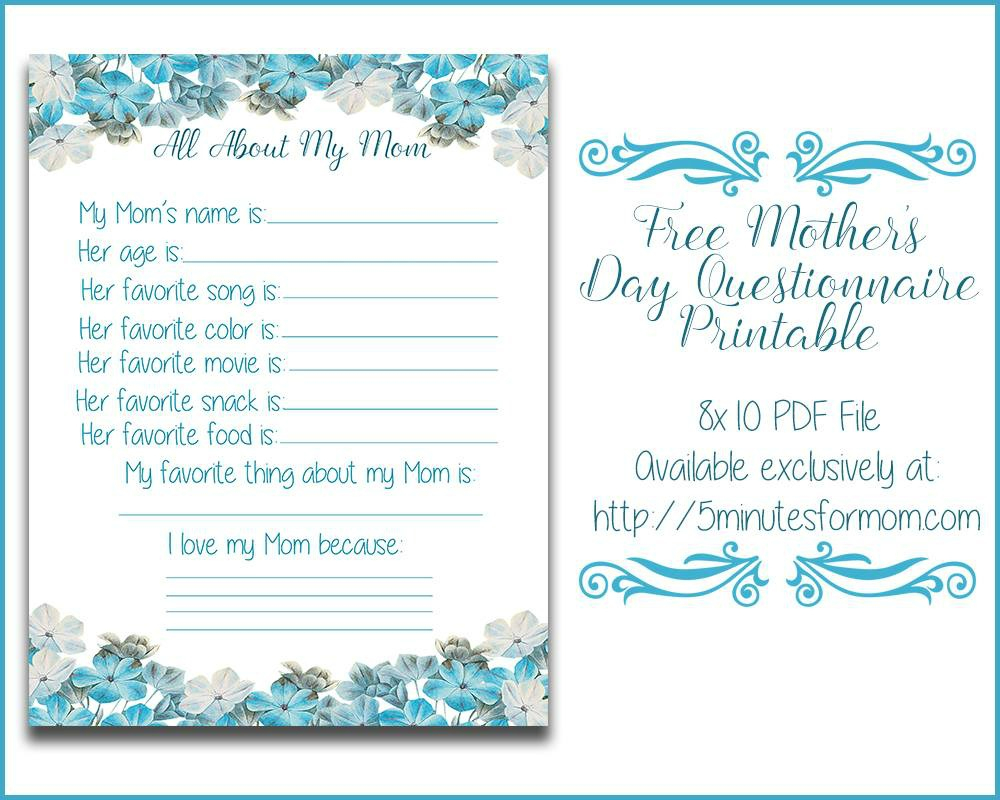 All About My Mom Questionnaire - Free Printable For Mother's Day - Free Printable Mothers Day Questions