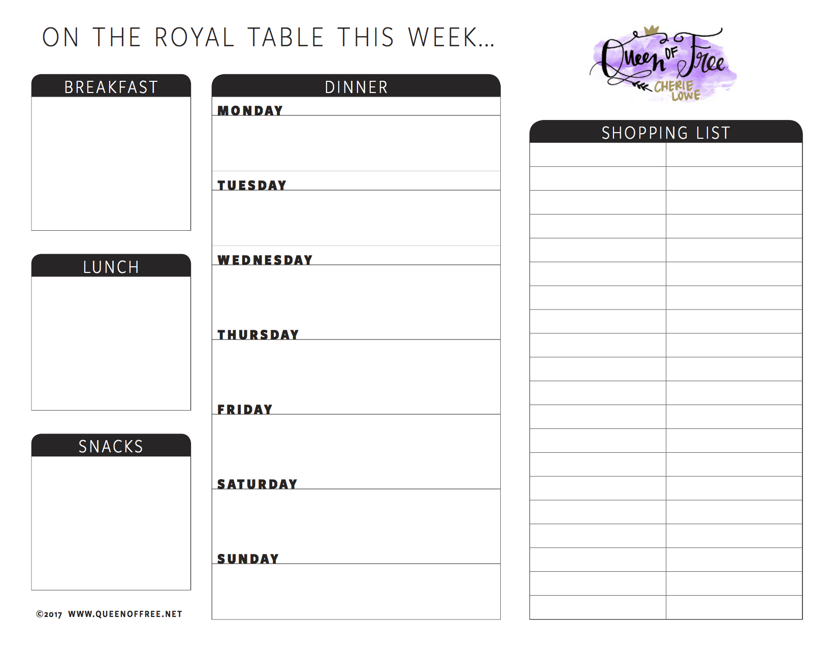 All New: Free Printable Meal Planner You Can Edit - Queen Of Free - Free Printable Weekly Dinner Menu Planner