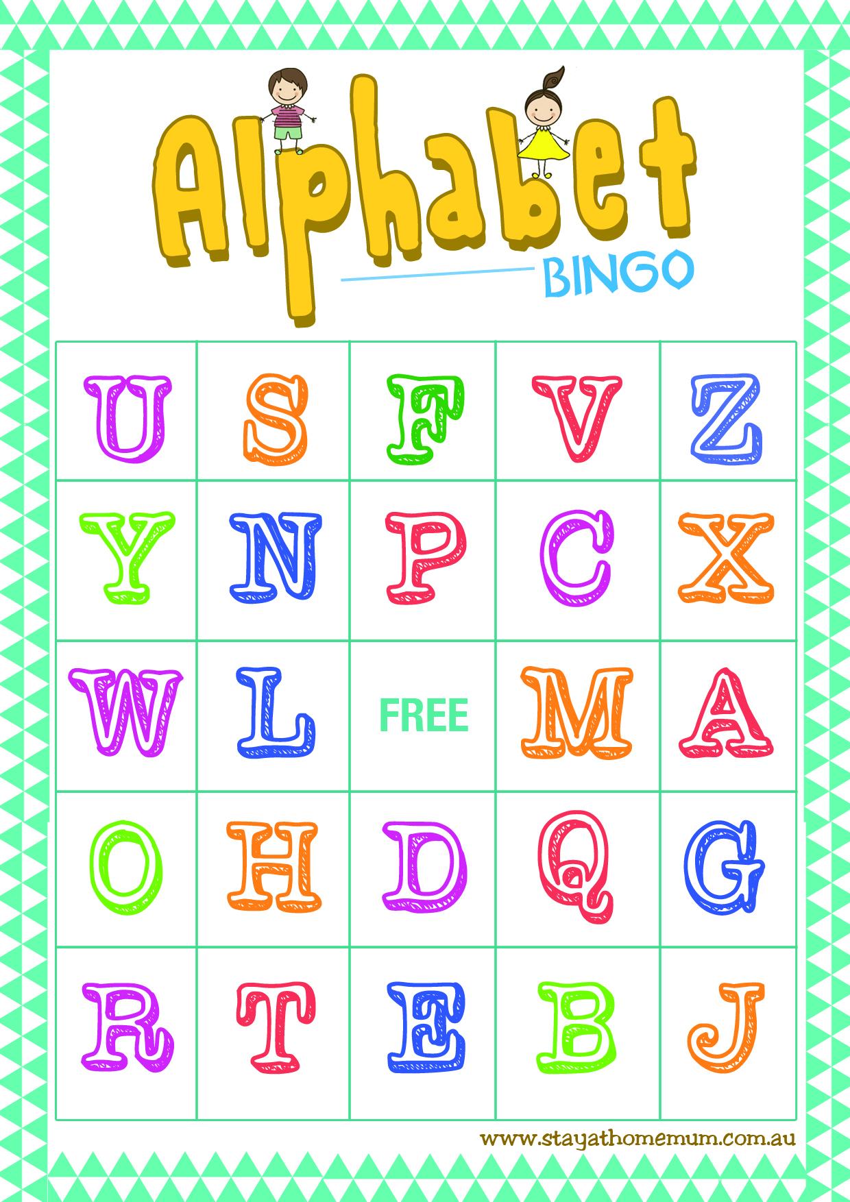 Alphabet Bingo Free Printable - Stay At Home Mum - Free Printable Alphabet Bingo Cards