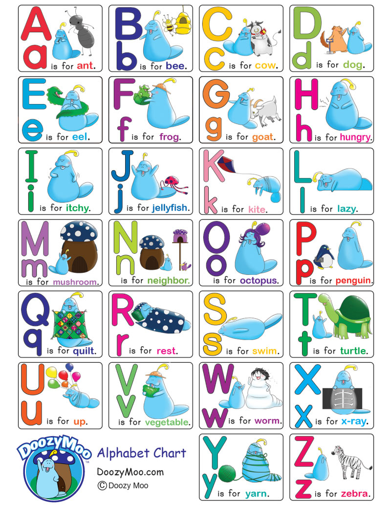 Alphabet Chart With Pictures (Free Printable) - Doozy Moo - Free Printable Alphabet Chart