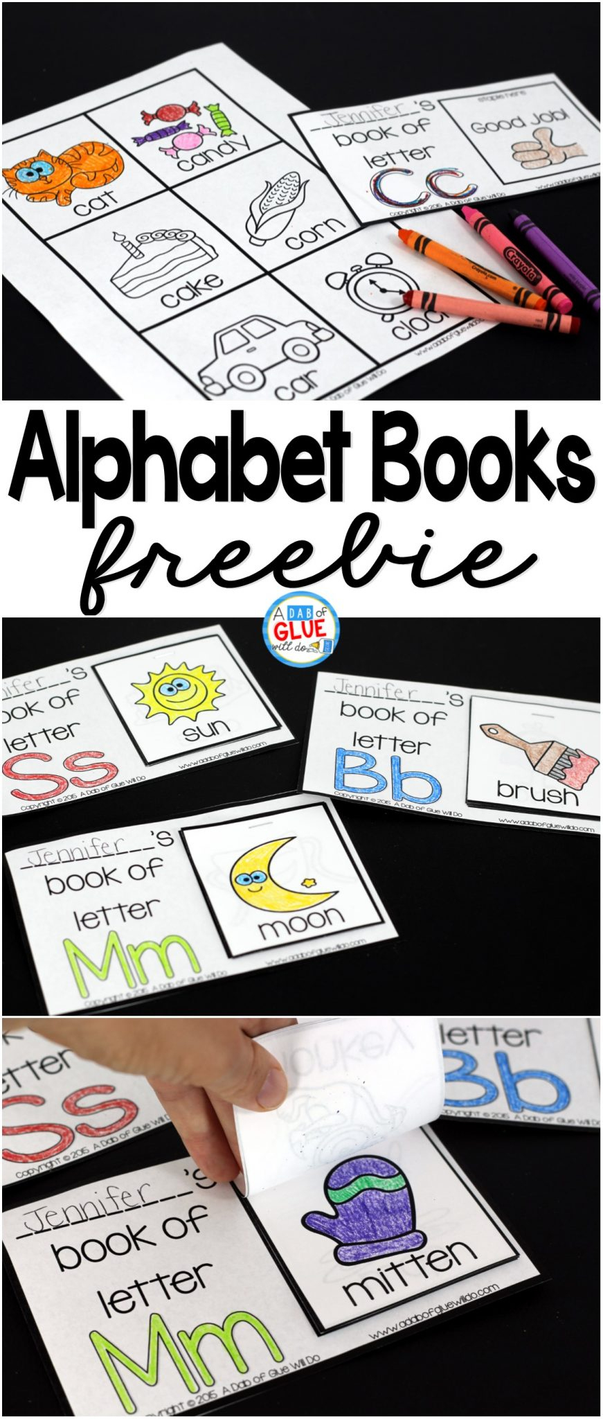 Alphabet Flip Books - A Dab Of Glue Will Do - Free Printable Abc Mini Books