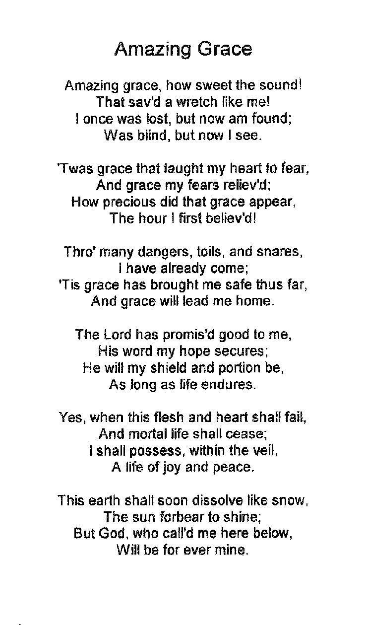 Amazing Grace Lyrics | Amazing Grace | My Cheat Sheets Lullabies - Free Printable Lyrics To Christian Songs