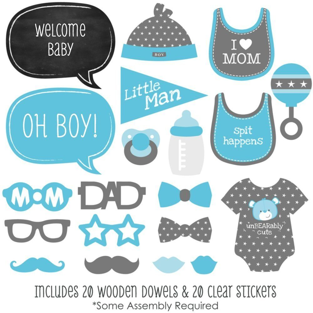 Amazon: Baby Boy - Piece Photo Booth Props Kit - 20 Count: Toys - Free Printable Boy Baby Shower Photo Booth Props