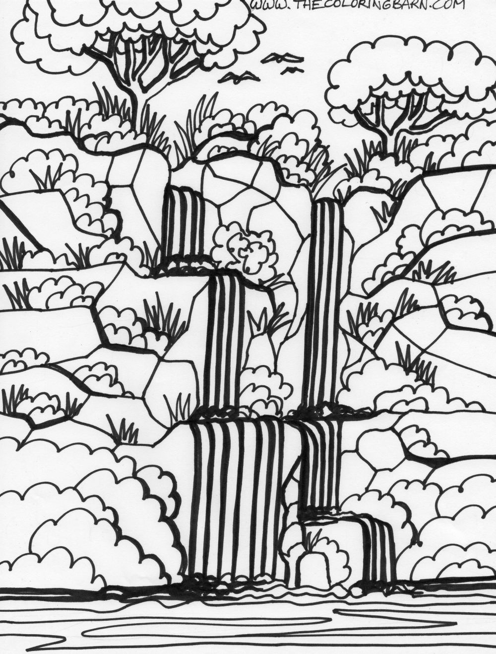 Amazon Rainforest Coloring Pages For Kids   Free Download Coloring - Free Printable Waterfall Coloring Pages