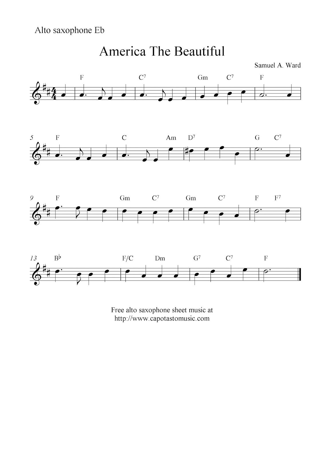 America The Beautiful, Free Alto Saxophone Sheet Music Notes - Free Printable Alto Saxophone Sheet Music