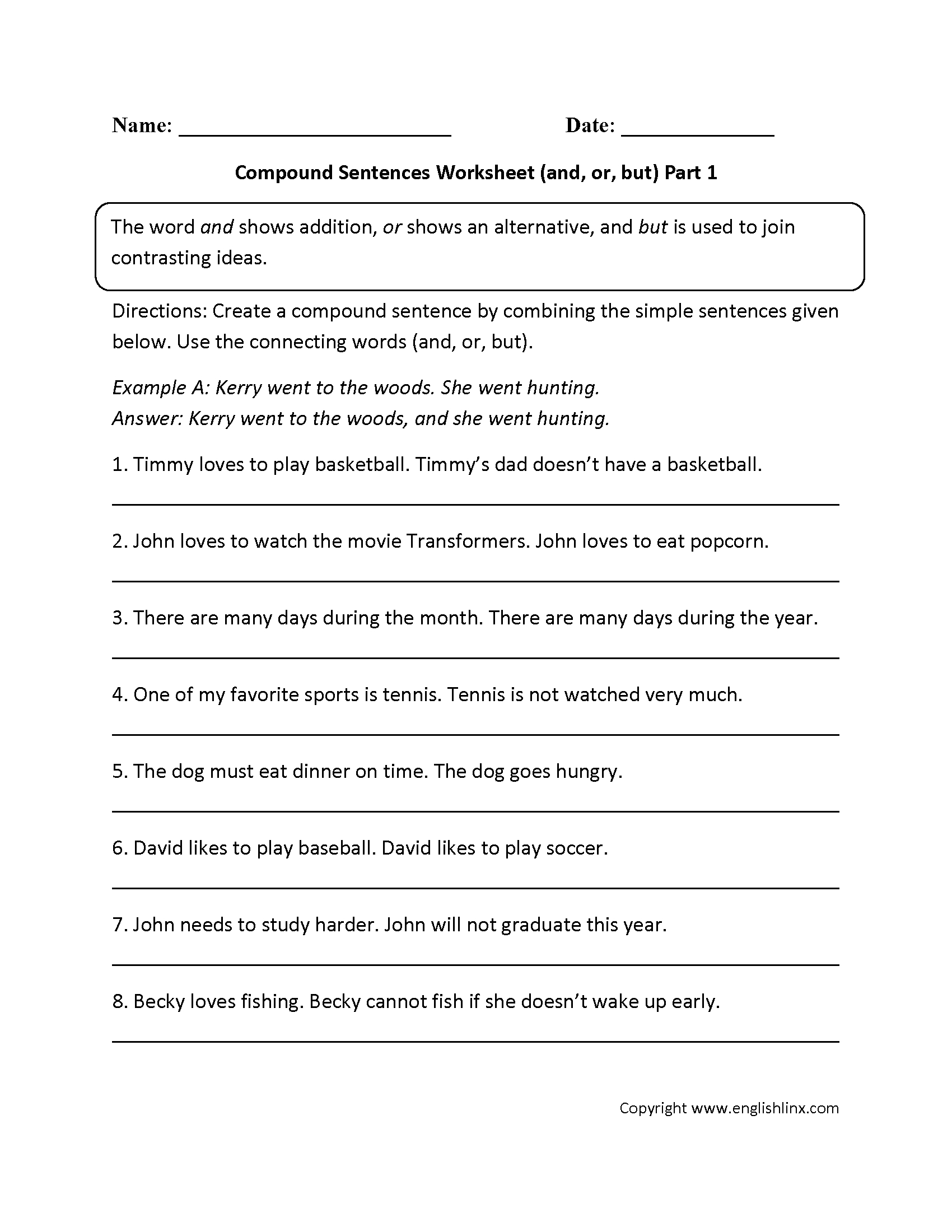 And, Or, And But Compound Sentences Worksheet | Capitalization - Free Printable Worksheets On Simple Compound And Complex Sentences