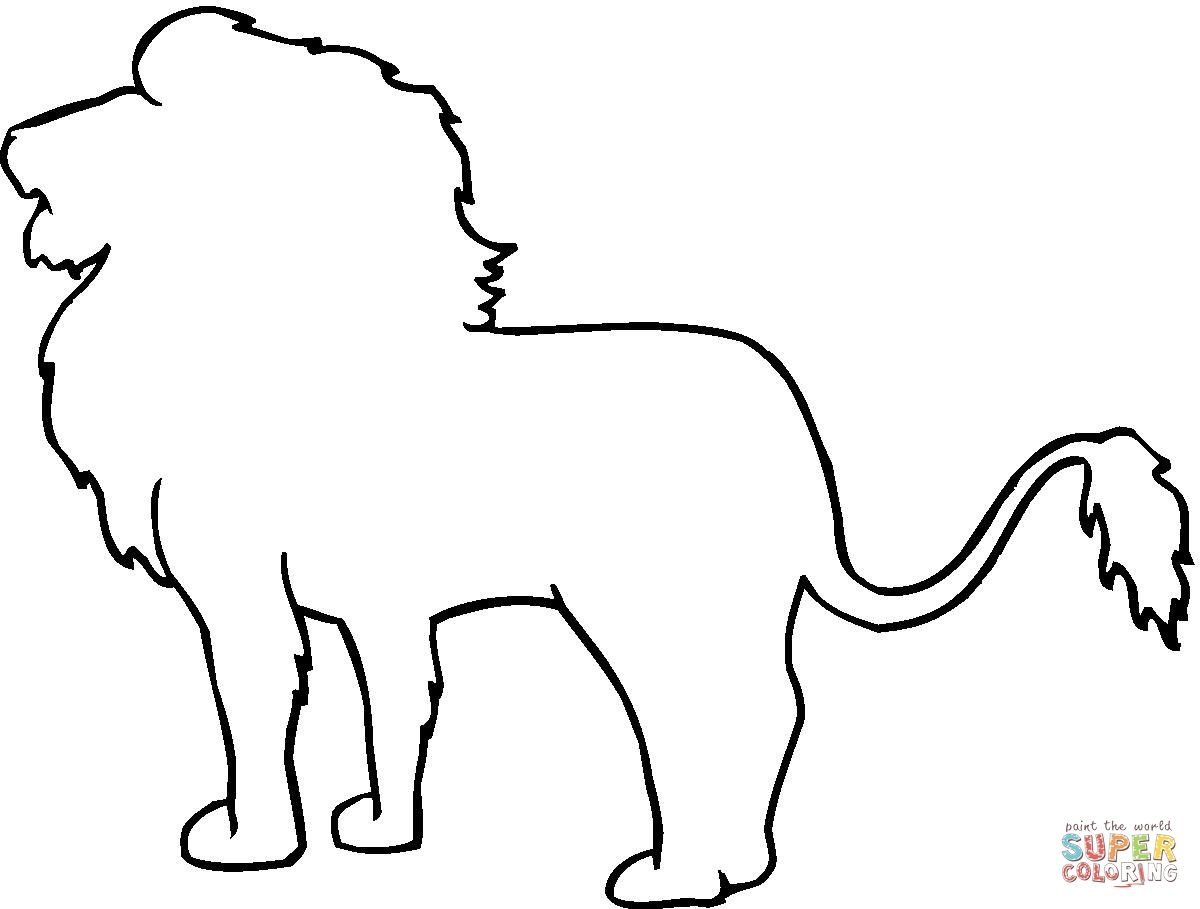 Animal Outline Drawings | Lion Outline Coloring Online | Something - Free Printable Arty Animal Outlines