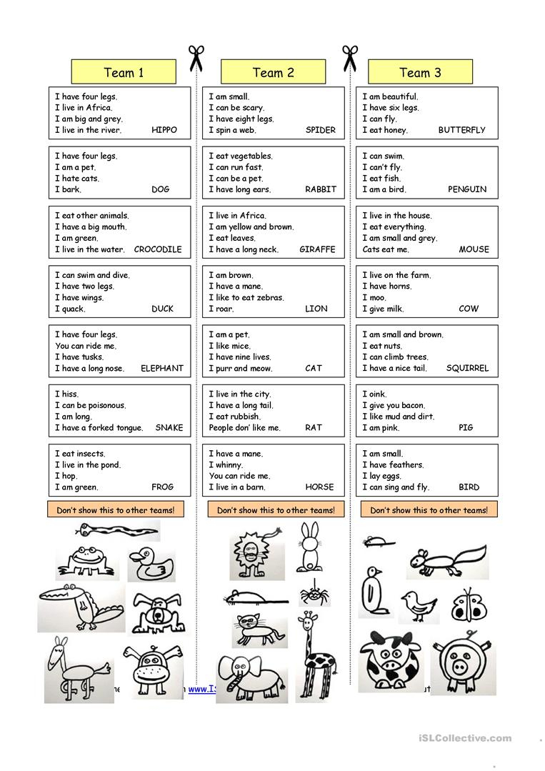 Animal Riddles 1 (Easy) Worksheet - Free Esl Printable Worksheets - Free Printable Riddles