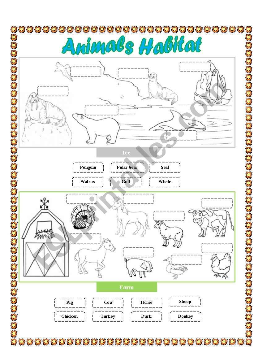 Animals Habitat - (Farm - Ice) Cut And Paste - Esl Worksheet - Free Printable Worksheets Animal Habitats