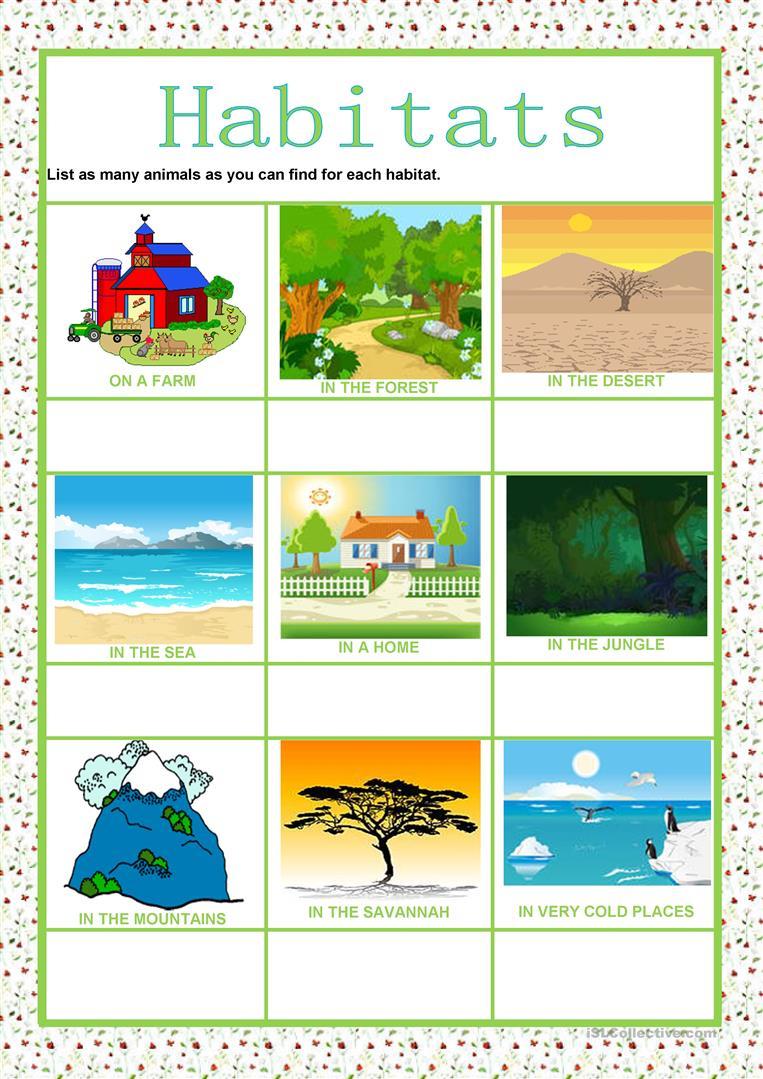 Animals - Habitats Worksheet - Free Esl Printable Worksheets Made - Free Printable Worksheets Animal Habitats