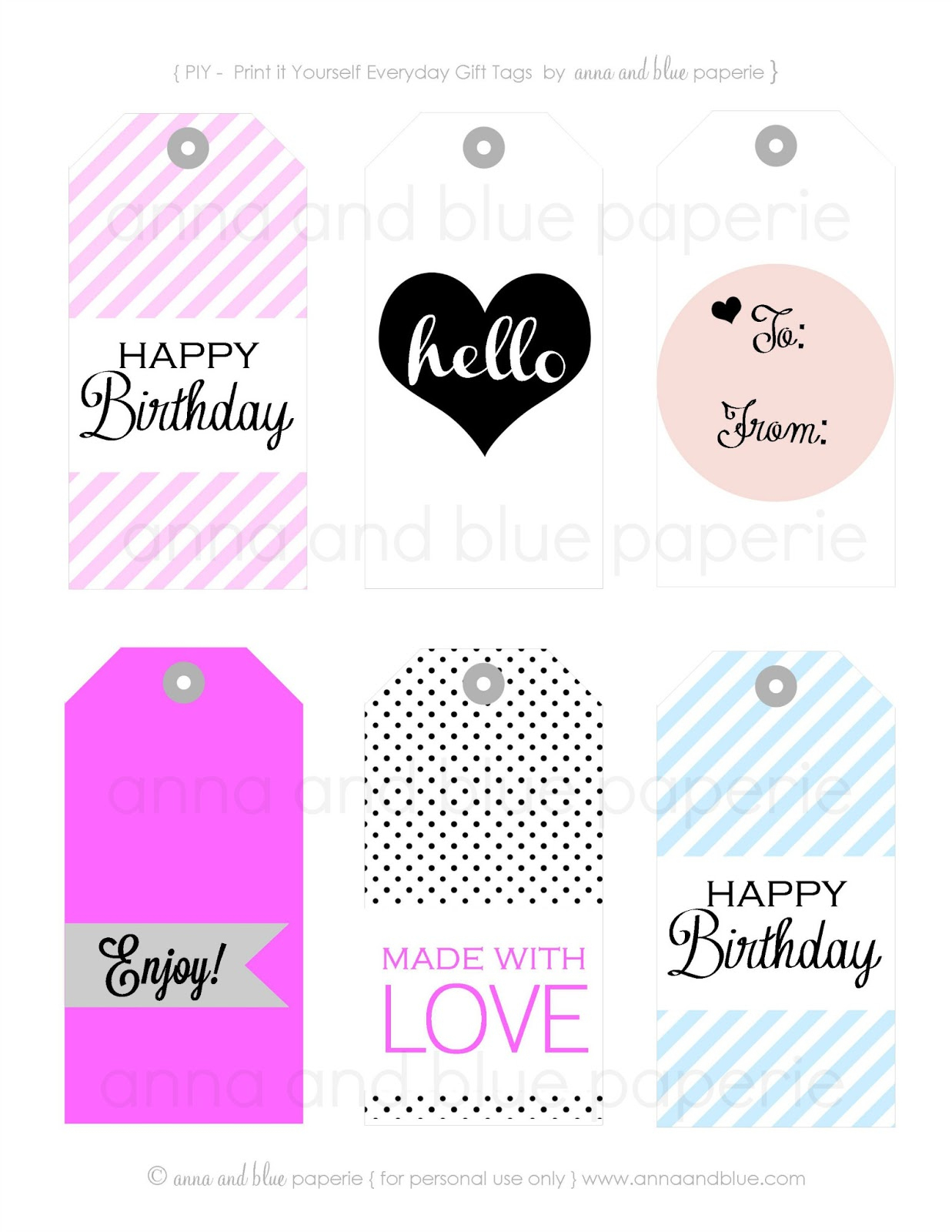 Anna And Blue Paperie: Gift Tags - Free Printable - Free Printable Card Stock Paper