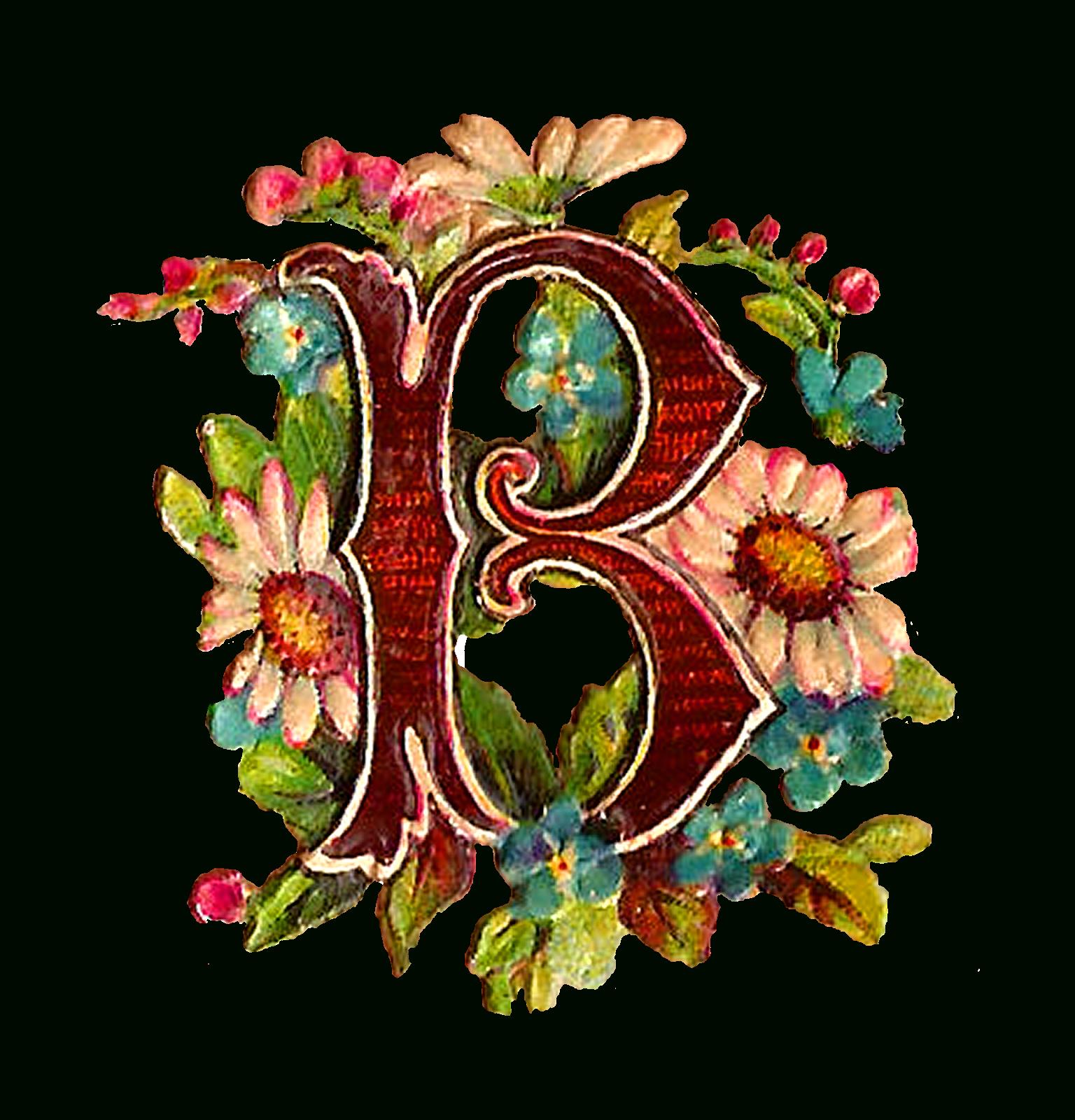 Antique Images: Free Antique Drop Cap Letter Clipart Floral Daisy - Free Printable Flower Letters