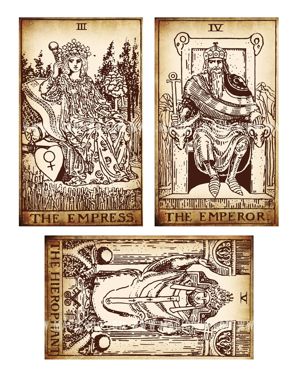 Antique Printable Tarot Pdf Digital Collage Sheet Altered Art - Free Printable Tarot Cards
