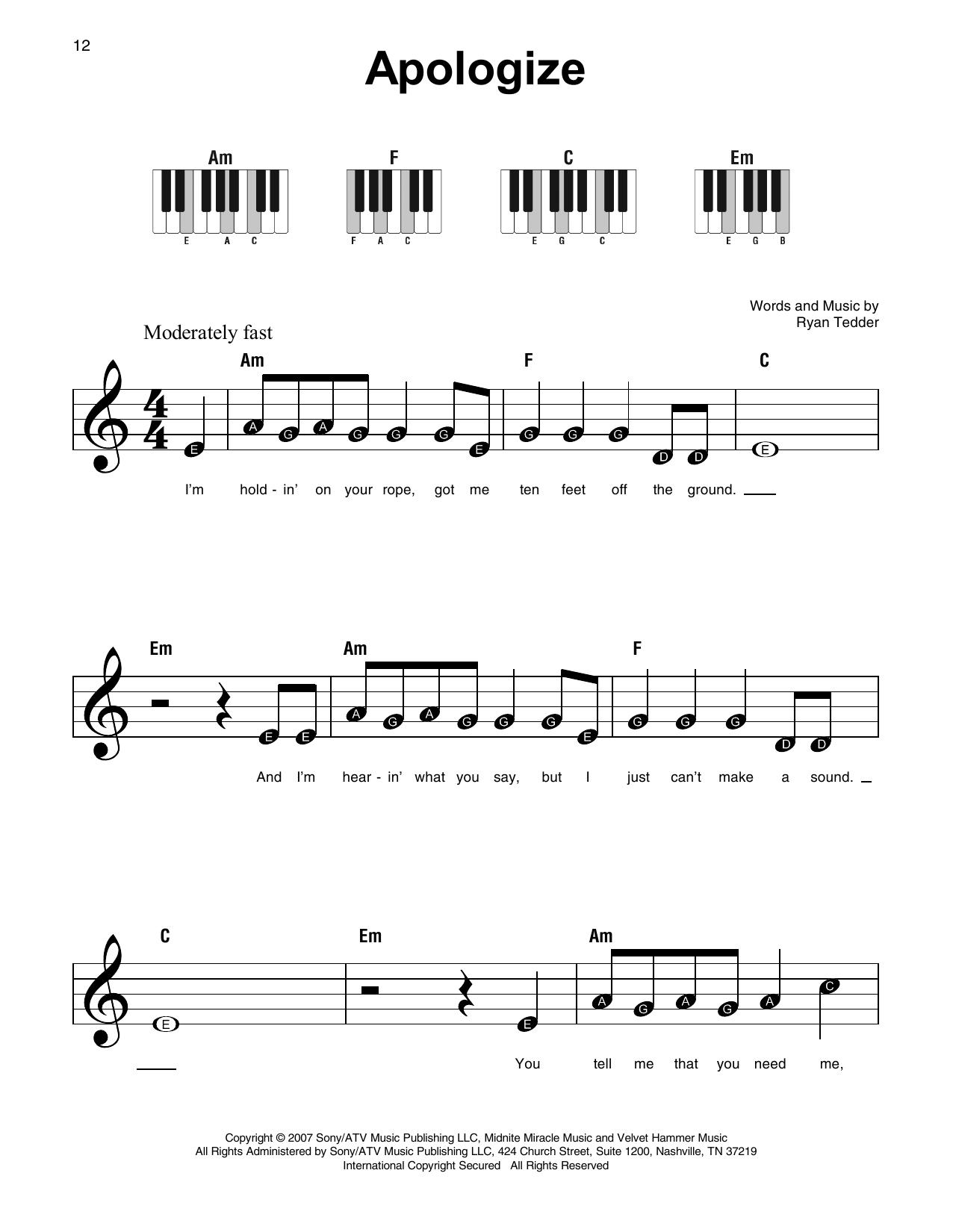 Apologize (Feat. Onerepublic) Sheet Music   Timbaland   Super Easy Piano - Apologize Piano Sheet Music Free Printable