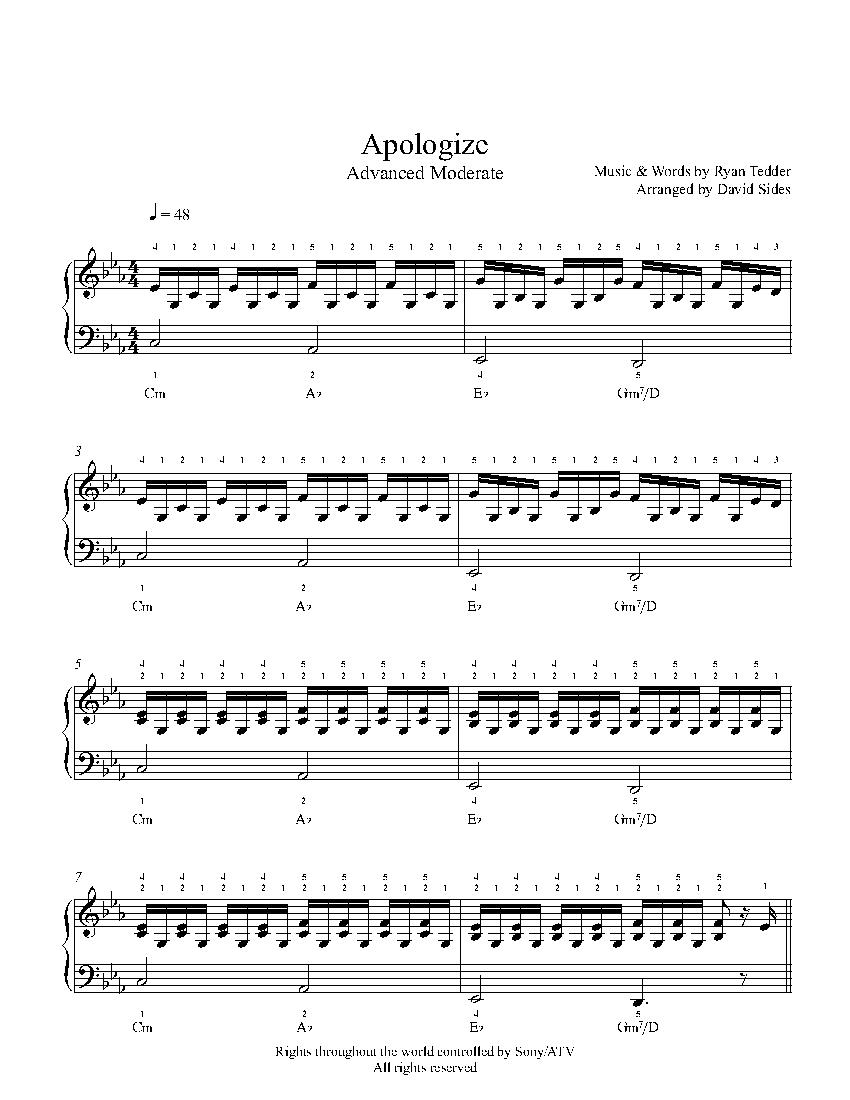 Apologizeone Republic Piano Sheet Music   Advanced Level - Apologize Piano Sheet Music Free Printable