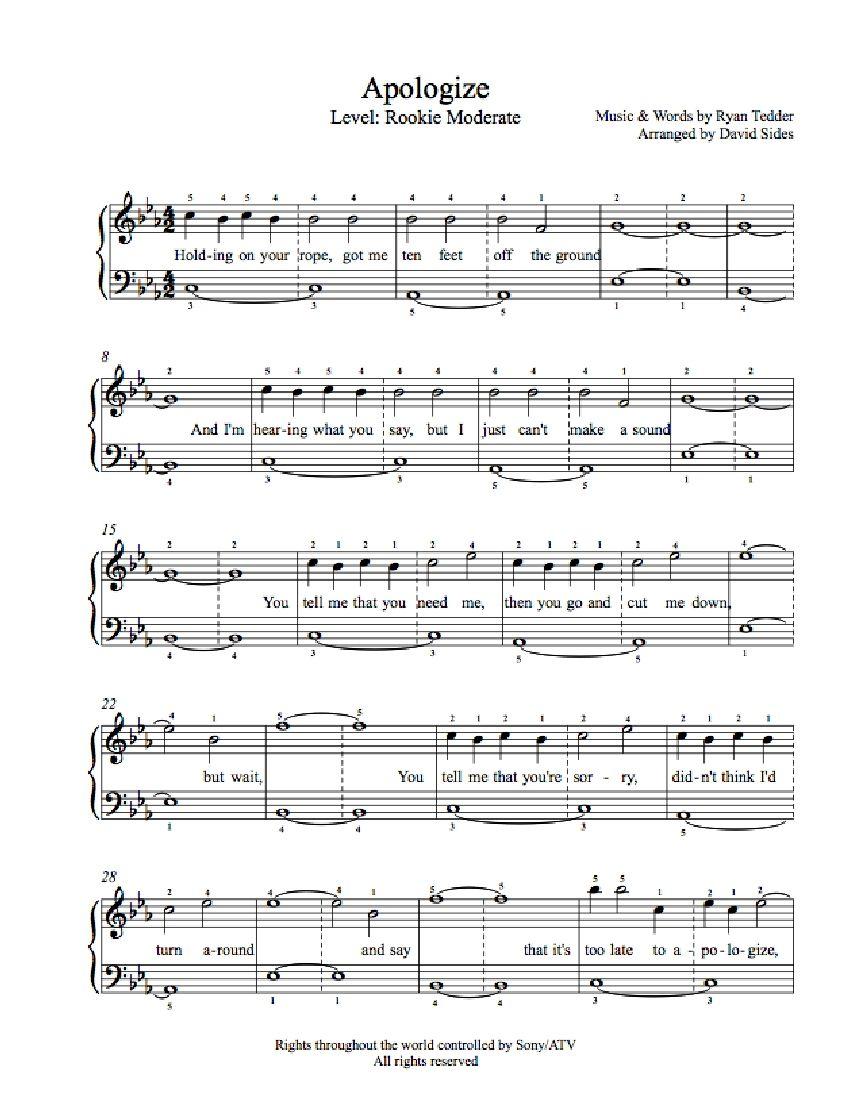Apologizeone Republic Piano Sheet Music   Rookie Level - Apologize Piano Sheet Music Free Printable