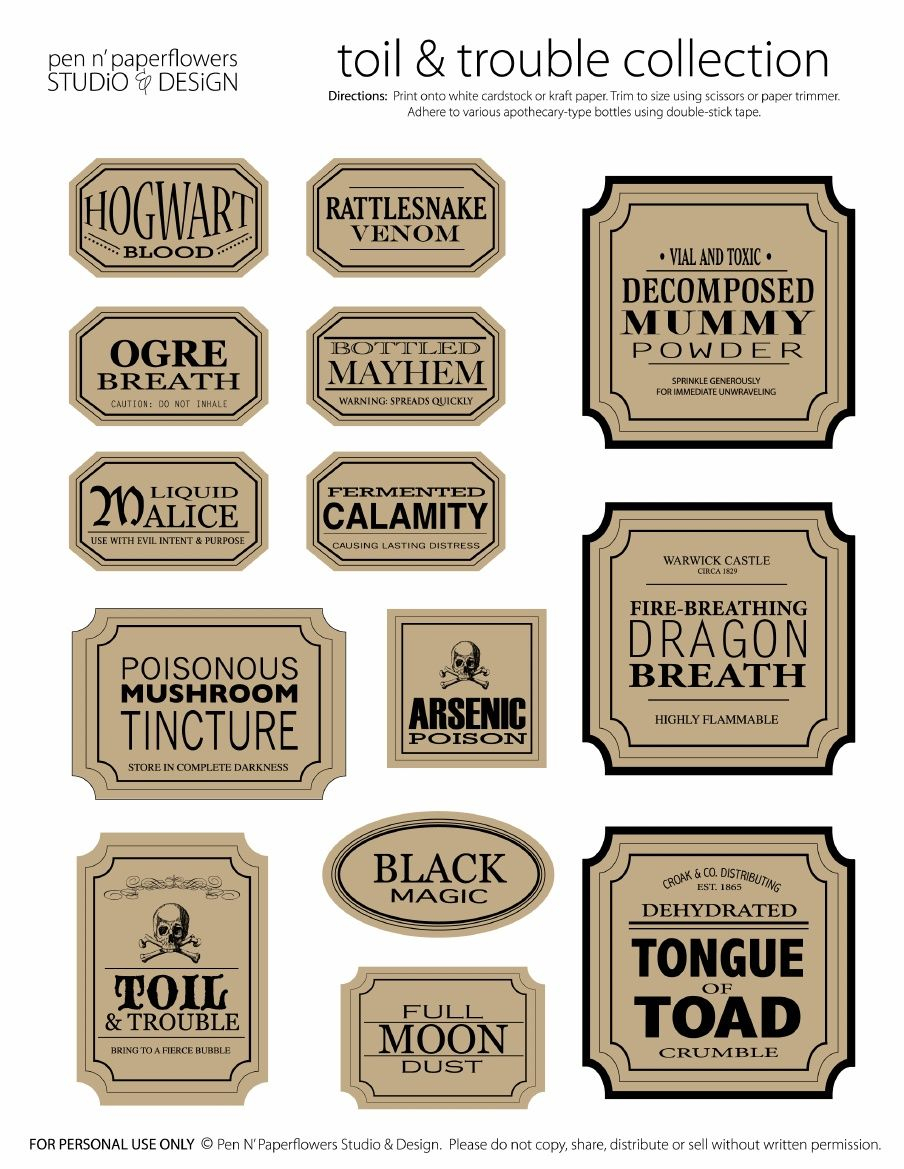 Apothecary Jar Labels   Toil & Trouble Collection (Page 3 • Colored - Free Printable Apothecary Jar Labels